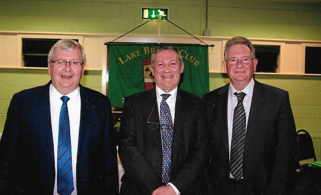 Lake Bridge Club 2017 President's Prize Winners,  Gerry O'Gorman and Tony O'Sullivan with President , John Butler (centre)