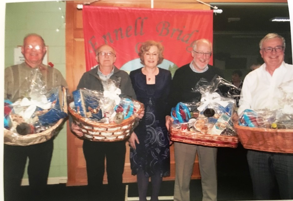 2nd Prize Winners in 2017 Christmas Hampers. Pat Brennan, Peter Flynn, Eugine Hill& Owen Fagan with President Maura McAuliffe