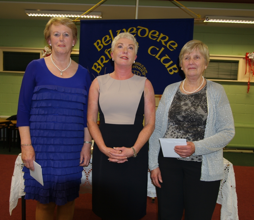 Belvedere Bridge Club President, Patricia Boyhan with the winners of the gross prize, Carmel Maher & Monica Harris