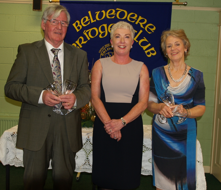 Belvedere Bridge Club President, Patricia Boyhan with the winners of her prize, Frank & Anna Maher