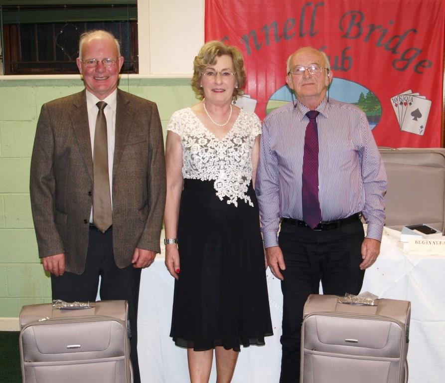 Pat Brennan & Peter Flynn winners of 2nd gross prize with President Maura McAuliffe