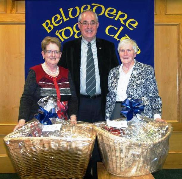 First Prize Winners in the Christmas hamper competition Eileen Muldoon and Rose Marie Isdell with Matty Blake President Belvedere Bridge Club