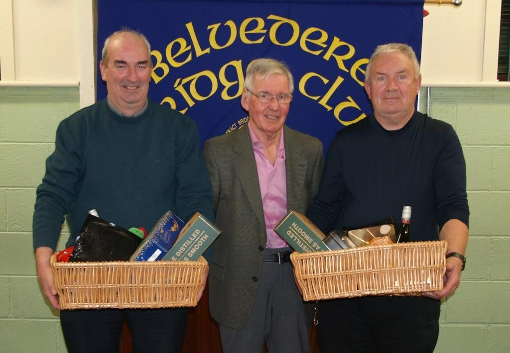 1st prize winners in the Belvedere Club Christmas Hamper competition, David Tubridy and Michael Treacy with centre Frank Maher, Belvedere Club President