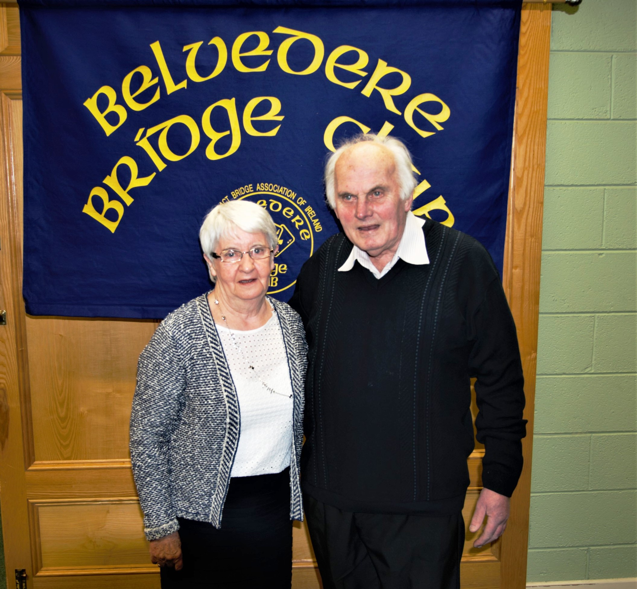 Mary Corroon  winner of the Individual Competition in the Belvedere Bridge Club  with Pat Seery President.