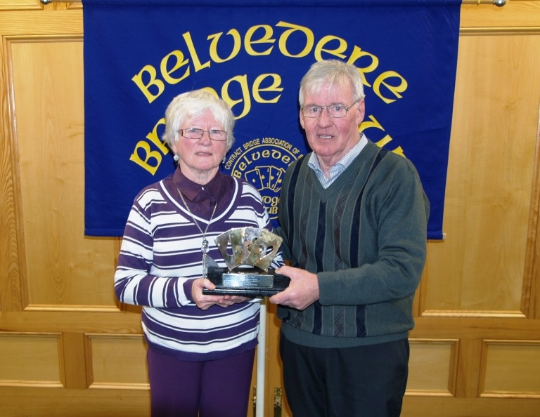 Winner Bridie Morris accepts the trophy from Belvedere President, Frank Maher. Missing from the photo is Anne  Seery, Bridie's partner