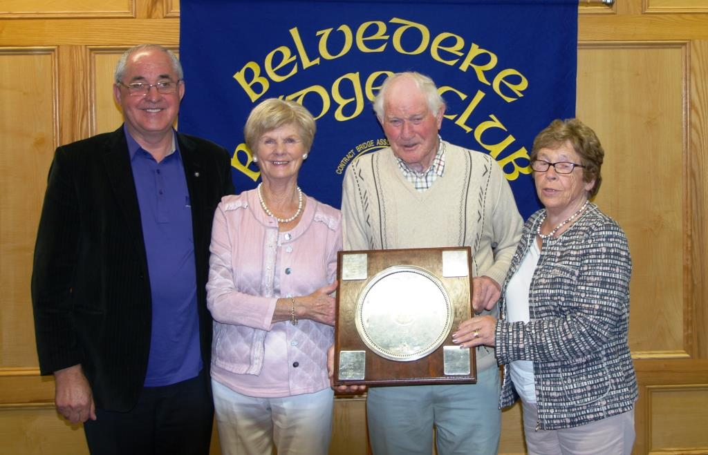 Lough Lane Trophy Matty Blake, President Belvedere Bridge club, with Maura Maguire and Rita Molloy winners  presented with trophy by Tommy Fagan sponsor.