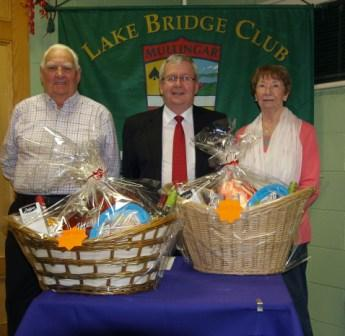 Lake Bridge Club Christmas Hamper - 2nd Nett winners Jim Hearn and Margaret Kilroy with Gerry O'Gorman, Club President