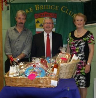 Lake Bridge Club Christmas Hamper - 3rd Gross winners Sean Galligan and Carmel Maher with Gerry O'Gorman, Club President