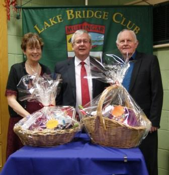 OLake Bridge Club Christmas Hamper - 5th Nett winners Mary and Frank McHugh with Gerry O'Gorman, Club President