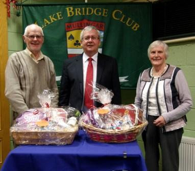 Lake Bridge Club Christmas Hamper - 6th Nett winners John Smyth and Rose Marie Isdell with Gerry O'Gorman, Club President