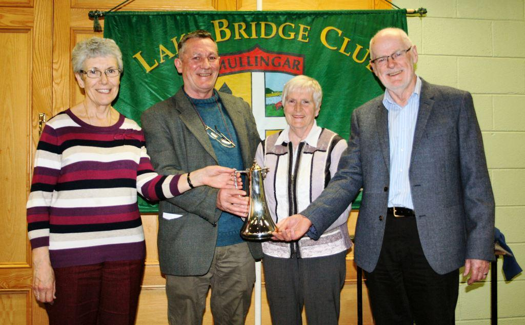 Winners of the Founder's Trophy, Mary Savage, Rosemary Isdell and John Smyth wit the Lake Club President, John Butler