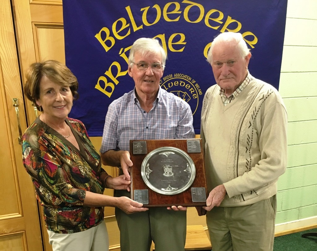 Winners of the Lough Lene Trophy Mary Geary & Tommy Fagan with centre Frank Maher, Belvedere Club President