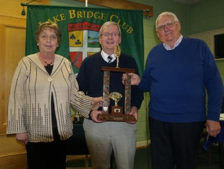 Maura Hogan & Jim Hearn winners of the Ennell Trophy with Jerry O'Gorman Lake Club Presid