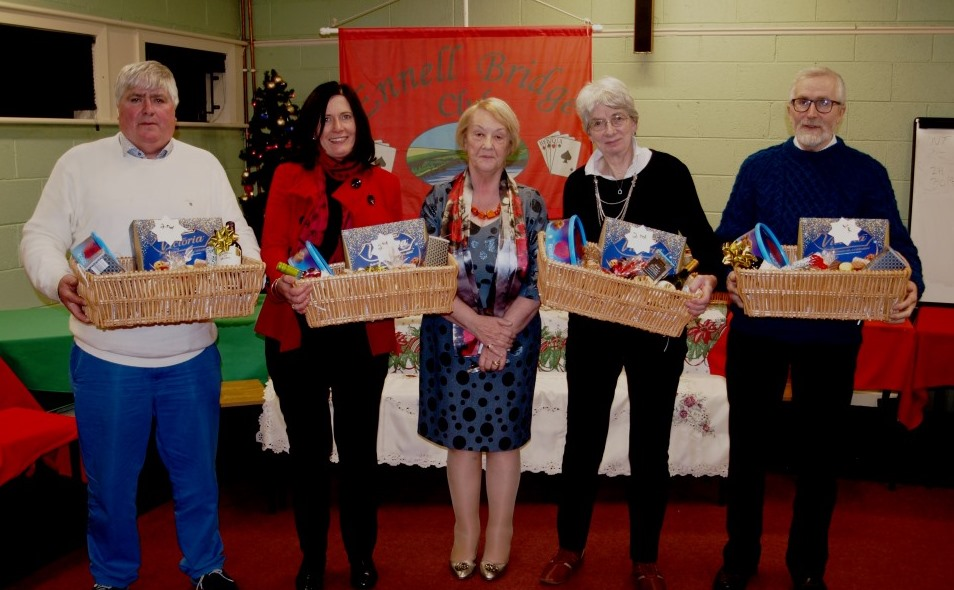 2nd Prize winners:Eamonn Bray and Margaret Culkin, Judith Campbell Ricketts and Pat Donoghue with President Chris Gallagher