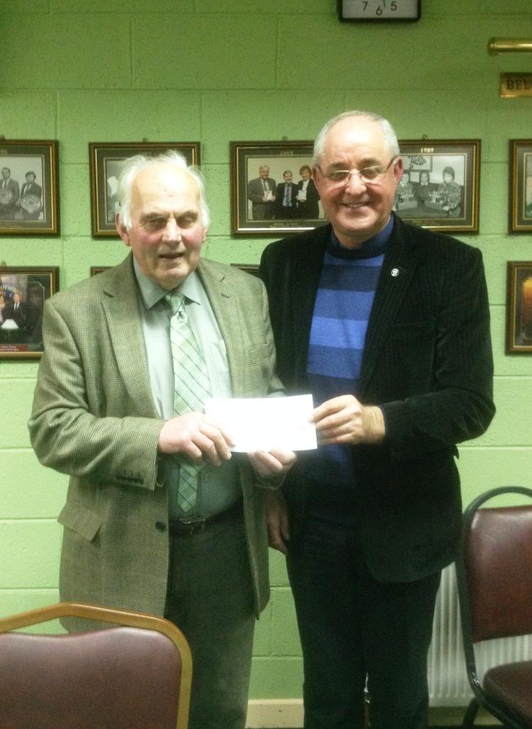 Matty Blake congratulates the Belvedere Club's new President, Pat seery