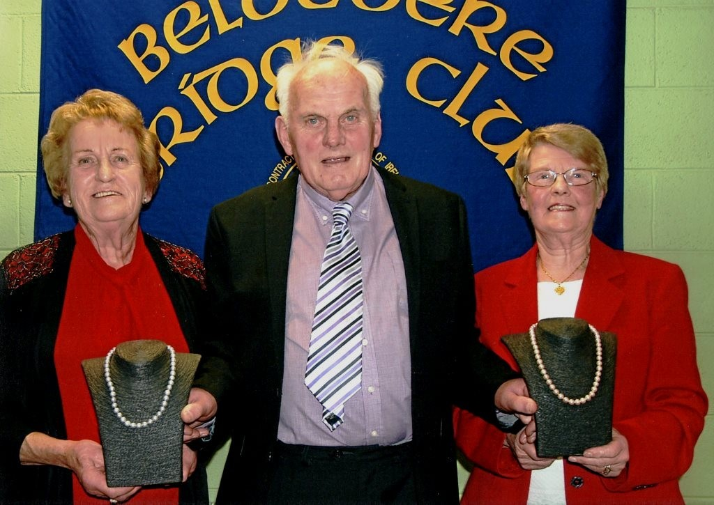 Belvedere Club President, Pat Seery with winners Ann Luby and Ann Grace