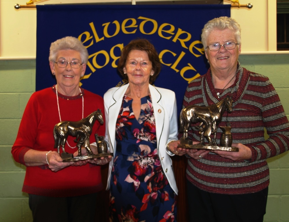 Presidents Prize winners,  Mary Fagan & Patricia Bruton with Eileen Leavy President Belvedere bridge club (centre)