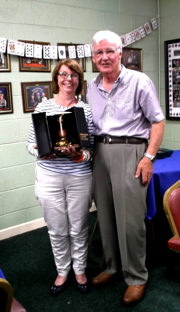 The winner of the 12 yr old Scotch Whisky in a Pot Still Decanter was Bridget Byrne pictured here with Belvedere Club President, Frank Maher