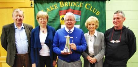 Winners of the Founder Members Team competition - Roger Conway , Kathleen Daly , Kathleen O'Hara  and John Butler  with Lake Club President, Gerry O'Gorman.