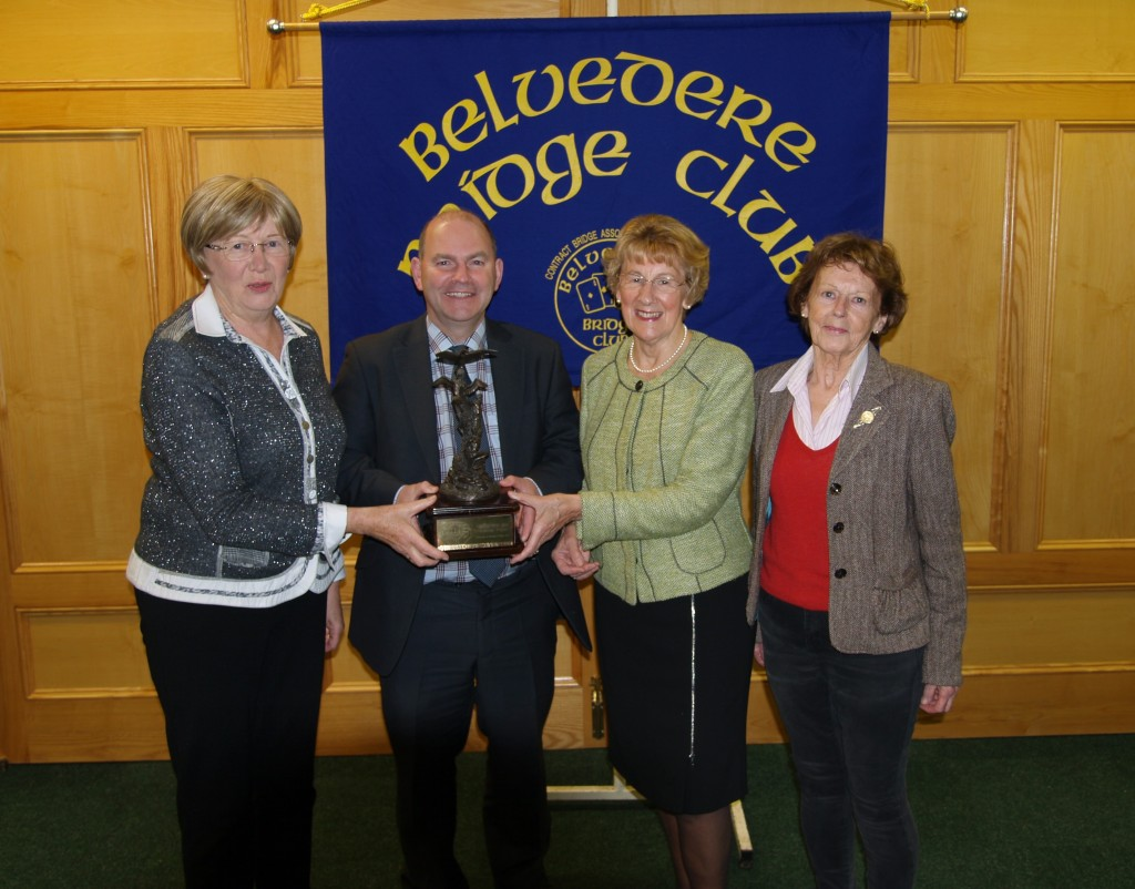 Credit Union pairs competition winners, Kathleen Daly & Edna Craig  with Tom Allen Mullingar Credit union & Eileen Leavy, President Belvedere Bridge club