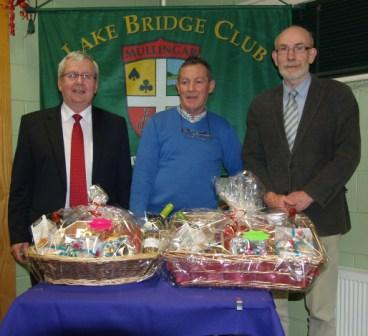 Lake Bridge Club Christmas Hamper - 4th Nett winners Gerry O'Gorman and John Bourke with John Butler, Club Vice-President