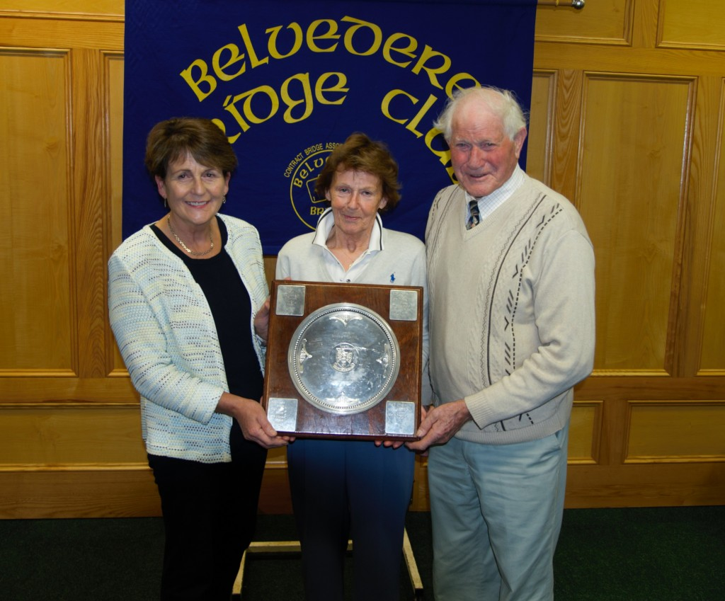 Lough lene   Trophy winners, Mary Geary & Tommy Fagan with Eileen Leavey  (centre) President Belvedere Bridge club